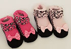 New born baby socks shoe pink leopard pink bows gift Baby shower  0-3 months