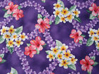 Hawaiian Print Cotton-Purple with lilac,white and pink flowers-sample available