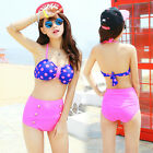 Retro Polka Dot Bandeau Bikini Swimsuit Top and High Waist Waisted Bottom Set