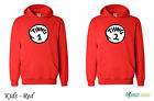 Thing 1 and Thing 2 Red Dr Suess Cat In A Hat  Twins Hoodie  Kids  - Red