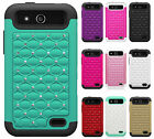 For Boost Mobile ZTE Speed HYBRID IMPACT Diamond Case Phone Cover + Screen Guard