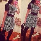 New Women Fashion Casual Round Neck Short Sleeve Houndstooth Plaid A-Line Dress