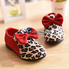 2015 Spring Baby Child Toddlers Kids Girls Princess Leopard Front Bow knot Shoes