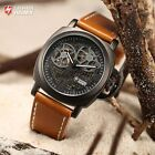 SHARK ARMY 2 Colours Automatic Skeleton Mechanical Leather Wrist Watch + Box