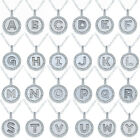 Sterling Silver Micro Pave CZ Letter Initial Polished Disc Pendant Necklace 18
