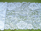 """Laces Galore"" ~Quality Pretty White Rose French Stretch  Lace 17cm Craft Trim"