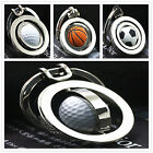 3D Silver Metal Football Golf Basketball Shape Keychain Classic Charm Keyring