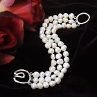 White Nugget Freshwater 7-8mm  Pearl Three Layers Silver Tone Toggle Bracelet