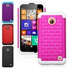 Hybrid Spot Diamond Bling Phone Case Skin Cover For Nokia Lumia 630 635