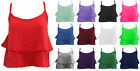 C68-WOMENS SEXY STRAPPY DOUBLE FRILL CAMI CROP CROPPED VEST TEE T-SHIRT TOP-8-14