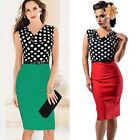 New Women Polka Dots Rockabilly Cocktail Business Party Evening Dress Plus Size