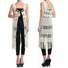 TheMogan Fringed Crochet Lace Maxi Vest Layering Cover Up Cardigan