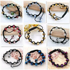 1pc Faceted Glass Rondelle Spacer Bead Knitted Woven Weave Bracelet Adjustable