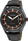 Citizen Eco-Drive WR 100m Men's Black IP Orange Leather Sports Watch AW1184-13E
