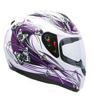 MT Thunder Flutter Butterfly Ladies Motorcycle Bike Scooter Helmet White Purple