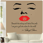 Marilyn Monroe Wall Decal Decor Quote Face Red Lips Makeup Sticker Choose Size