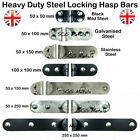 High Security Locking Bar Hasp Shed Garage Van Doors Black or Silver Heavy Duty
