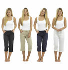 Ladies 3/4 Linen Trousers Capri Crop Short Casual Pants Summer Holiday Basic 563