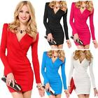 Sexy Womens Deep V Neck Long Sleeves Party Stretch Bodycon Wrap Tunic Mini Dress