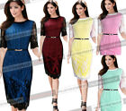 Womens Elegant Floral Crochet Striped Tunic Wear To Work Party Pencil Dress 373