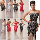 Homecoming Red LACE Long Evening Prom dresses Bridesmaid Wedding Dance Ball Gown