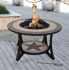 SIENNA FirePit Tile Coffee Table Garden Fire Bowl Barbecue Grill & Rain Cover