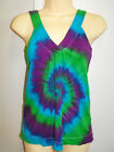 LADIES TIE DYE DYED LOOSE FIT V NECK HIPPY SINGLET TOP AVAILABLE IN SIZES 6