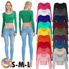 Fashion Women's Long Sleeve Basic Crop Top Round Neck With Stretch USA S,M,L