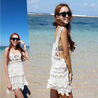 New Woman Sexy Summer Beach Dress Swimwear Bikini Cover Up Lace Crochet Shirt AU