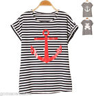 Womens Lady Striped Anchor/Bear Round Neck T-Shirt Tops,Short Sleeves