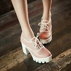 2015 Womens Punk Platform Block Chunky Heel Pumps Casual Lace Up Shoes Plus Size