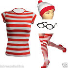 LADIES WHERES WALLY STRIPED TSHIRT HAT SOCKS GLASSES STYLE FANCY DRESS