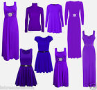 Christmas Ladies Evening Purple Swing Diamante Maxi Dress Gown Skater Top