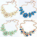 Charm Women Crystal Rhinestone Flower Statement Choker Collar Pendant Necklace