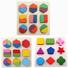 Baby Kids Learning Wooden Geometry Block Puzzle Montessori Early Educational Toy
