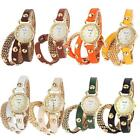 Fashion retro long strap Band Rivet Crystal Elegant leather women's Sport watch