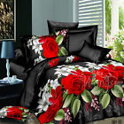 Red Floral Single/Double/Queen/King Bed Quilt/Doona/Duvet Cover Set Polyester