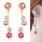 NEW Round Swarovski Crystal Drop Dangle Earrings 18K Gold Plated Gift E624-E627