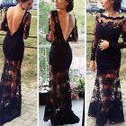 Women Prom Bandage Bodycon Backless Lace Maxi Cocktail Evening Gown Party Dress