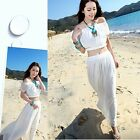 Summer Lady Chiffon Beach Boho Bohemian Off-Shoulder Dress Maxi Skirt Dresses LJ