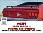 401 1969 MUSTANG MACH 1 - TRUNK LID and EXTENSION STRIPES - 3 PIECE DECAL KIT