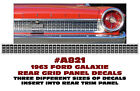 A821 1963 FORD GALAXIE REAR GRID PANEL DECAL INSERT KIT FORD LICENSED