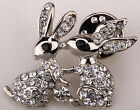 Bunny rabbit collar pin brooch MLP04 easter jewelry charm silver tone W/ crystal