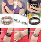 Unisex PU Leather Braided knitted Woven Clasp Cord Cuff Bracelet Necklace Punk