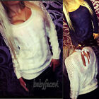 Ladies Sexy Backless Long Sleeve Hollow Sweater Pullover Jumper Cardigan 2 color