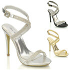 WOMENS HIGH HEEL PLATFORM DIAMANTE LADIES PROM PARTY BRIDAL SANDALS SHOES SIZE