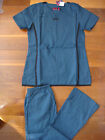4029 NWT Stylish Medical Nursing Scrubs Set Caribbean Blue / Black Nurse Uniform