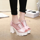 Womens Summer Platform Peep Toe Mesh Block Chunky Heel Lace Up Roma Sandals Size