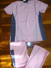 #2718 Flare Contrast Nursing Hospital Scrubs set Medical uniform Set Pink Pewter