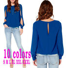Lady Women Loose Chiffon Tops Split sleeve Shirt Casual Blouse 10 Colors Choose